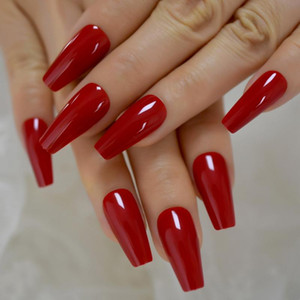 Gorgeous Red Press on Ballet False Nails Long Ruby-red Coffin Ballerina UV Fingersnails Free Adhesive Tapes 24pcs set