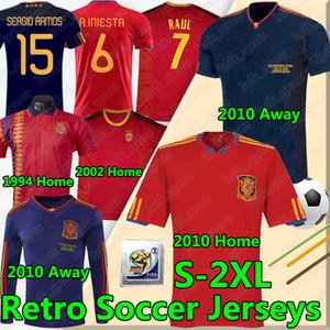 Spanien Retro Fussball Jerseys 1994 2002 10 Vintage Classic A.Inasta Torres Raul Jerseys Xavi David Villa Camisa de Futebol Shirts Lange Seelves