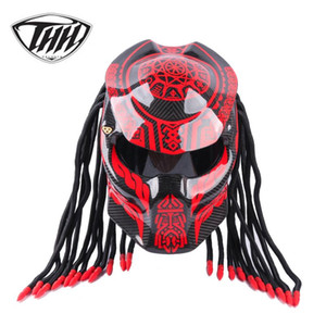 Caschi in vetro in fibra di carbonio rosso brillante Caschi moto moda moto moda elegante full viso elmetti con decorazione a trecce