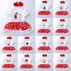 2Pcs Set 2020 New Styke Newborn Baby Girl My 1st Christmas Costume Santa Elk Xmas Snowman Tutu Romper Fancy Dress 0-24M