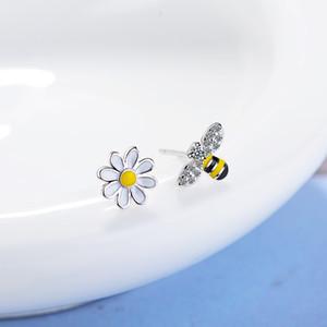Todorova carino piccolo asimmetrica Honey Bee orecchini Sun Flower strass orecchini per le donne Orecchini gioielli Brincos