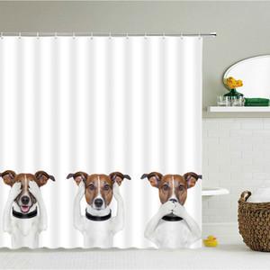 Funny Dog Chat Douche Rideau 3D Rideaux de salle de bain Imprimer Cheval Dinosaure Animal Polyester Tissu avec crochets 240x180 Écran de bain F1222