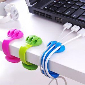 1pcs 솔리드 데스크 세트 와이어 클립 주최자 오피스 액세서리 용품 보빈 와인 더 랩 코드 케이블 관리자 USB 키보드 라인