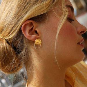 Fashion Online Celebrity Zircon Inlaid chaîne boucles d'oreilles femmes semi-cercle sculpture français exquis goujon boucles d'oreilles bijoux y10