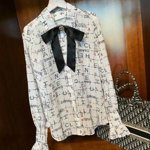 2020 designer super classic luxury lapel long sleeve shirt ladies t-shirt top casual ladies top free shipping