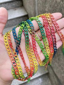 3Meters,2021 Most Popular Twist Colorful Cuban Gold Plated Brass Chain For Jewelry MakingQ0115