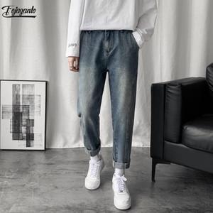 Men's Jeans FOJAGANTO Brand Men Trendy Autumn Fashion Casual Straight Denim Pants Retro Male