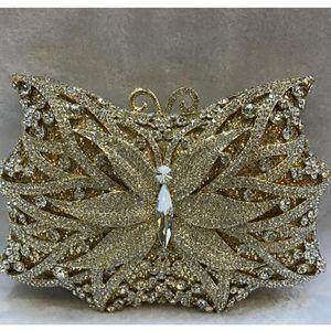 Crystal Shape Gold Wedding Handbags Bags Evening Clutches Bag Purses Dinner Butterfly Out Party Hollow Metal Clutch Bridal Women Kokcv