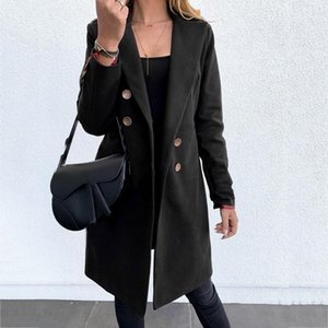 Woman Artificial Wool Coat Elegant Blend Slim Female Double Breasted Long Coat Outerwear Plus Size Jacket Winter Wool Femme1