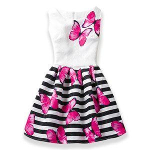 Hot sales Summer Girls Dress Butterfly Floral Print Princess Teenagers Dress For Girls Party Kids children dress Vestido 6-12Y