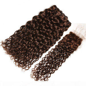 Wet and Wavy Chocolate Brown Brazilian Human Hair Weave Bundles with Closure Dark Brown Water Wave 3Bundles with 4x4 Lace Closure 4Pcs Lot