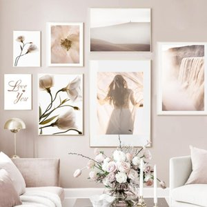 Flower Mountain Waterfall Girl Landscape Wall Art Canvas Painting Nordic Posters And Prints Wall Pictures For Living Room Decor