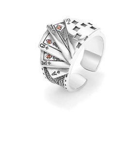 925 Sterling Silver Poker Ring Male Trend Hip Hop Fashion Creative Retro Old Open Flush Transfer Index Finger Ring