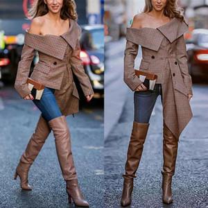 Hirigin Women Long Sleeve Off Shoulder Cape Lapel Blazers Coats Cool Loose Irregular Jacket Coat Autumn Plaid printing Jacket