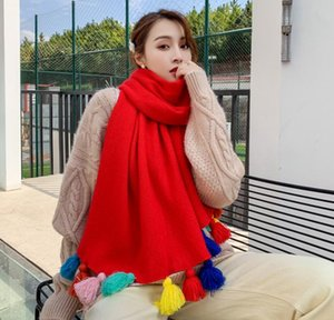 2021 new Korean style fashion fringed scarf female autumn and winter color hanging ball dual-use shawl lengthened thickened warm student bib