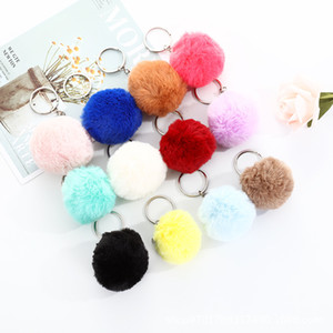 Fashion Plush Ball Keychain Imitation Rabbit Fur Soft Plush Ball Key Chain Pendant Plush Luggage Key Ring Creative Gift GWF4312