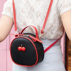 Backpack Women Black Fashion Trend Womens Color Zipper Cherry Hit Color Portable Bag Shoulder mini backpack mochila mujer