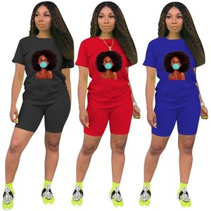Afro Girl Designers Tracksuit Women Sport Suit Fashion Print T Shirts Tops + Shorts 2PCS Outfit Summer Casual Cartoon Jogger Suit 4XL H12201