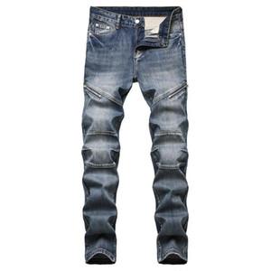 Outono e inverno novos homens calças de brim europeus e americanos personalidade nostálgico zipper decoração homens jeans da moda