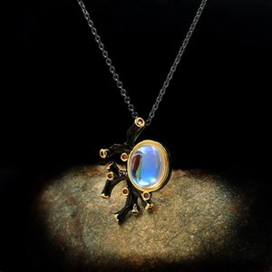 European beauty exaggerated moon gem black and gold two-tone exaggerated necklace factory wholesale