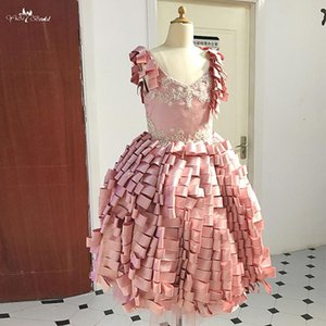 FG87 Same Mom Dress Ribbons Ruffles Ball Gown For Kids Pageant Pink Flower Girl Dress