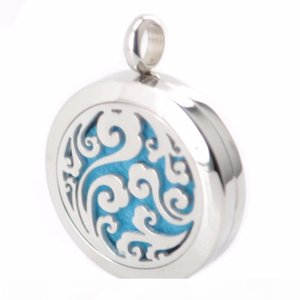 New Arrive 25mm Silver Jewelry Aromatherapy Essential Oil surgical Stainless Steel Perfume Diffuser Locket Necklace with chain and pads