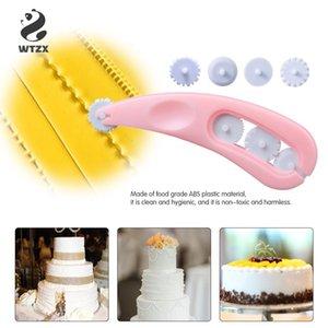 Hornear Herramientas de bricolaje impresora 4 pieza de presión del rodillo cortador de rueda de la torta que adorna las herramientas Confeitaria silicona molde de papel de la magdalena