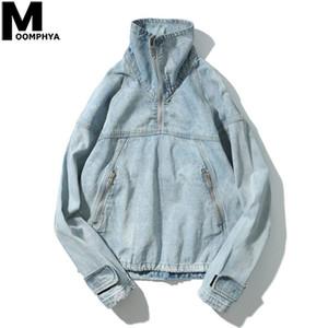 Moomphya Streetwear demi Pull Zipper Denim Veste Homme Hip Hop Vêtements Hommes 2020 Manteau surdimensionné Veste à col roulé Outwear