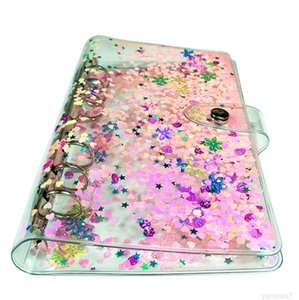 A6 Notepads Colorful learning hand ledger transparent loose-leaf simple business notebook quicksand binder shell A10