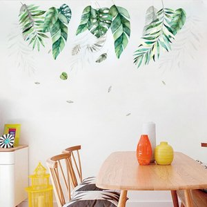 Green potted plant Wall Sticker Home living room Fresh and cool decoration Mural Art Decals bedroom background stickers