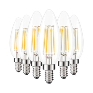 LED Bulbs Filament Dimmable C35 C35L Candle Bulb 2W 4W 6W E14 Bulbs Light 220V Clear Glass For Crystal Chandeliers Pendant Floor Lights