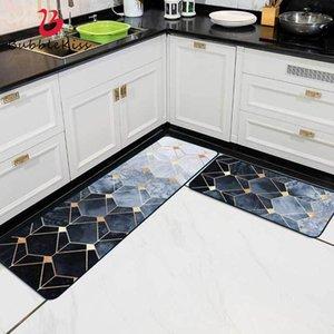 Blase Kuss Nordic-Art-Küchen Teppiche Geometric Gold Line Pattern Badezimmer Küche Mat Griffige Flur Nacht Vorleger