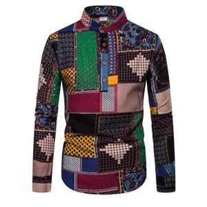 Мужские повседневные рубашки мужчины творческий бренд мода личностный досуг бизнес с длинным рукавом напечатанная рубашка национальный стиль мужское платье