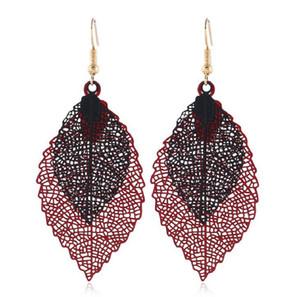 2019 New Fashion Vintage Leaves Drop Earrings Luxury Boho Czech Leaf Long Hanging Earrings Hollow Out Earrings for Novelty for Women