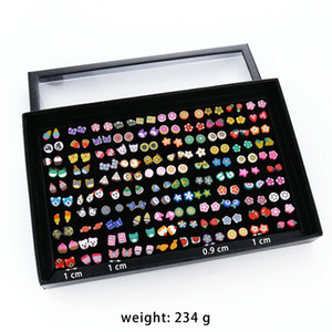 New Korean version of the box of soft clay earrings fashion fruit 100 pairs of set earrings cartoon resin women's geometric independent pack