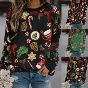 Otoño invierno de las mujeres Sudadera con capucha de nuevo estilo de Navidad Imprimir cuello redondo de manga larga suéter polar