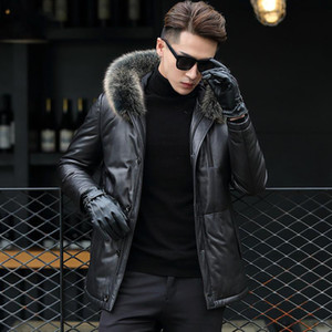 Genuine Leather Jacket Men Winter Jackets Fur Collar Real Sheepskin Men Warm Down Coat Jaqueta Couro F17S7121 YY376