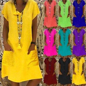 Women Casual Loose Dress Colors Pluse Sizes Batwing Solid Beach Boho Splice Pocket Dress Fashion Summer Dresses Robe Femme 2021