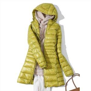 2020 New Winter Jackets Women White Duck Down Long Coat Female Hooded Padded Parkas Ultra Light Portable Down Coats for Women