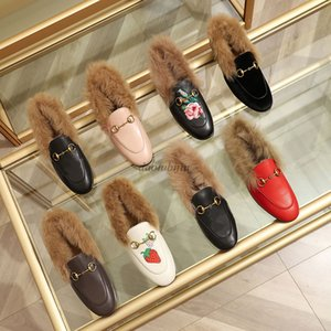 Mules Princetown Women Fur Slippers Mules with fur Flats Genuine Leather Designer Fashion Metal Chain Ladies Casual shoes P2