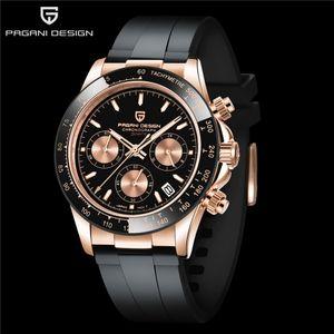 크리스마스 선물 Pagani 디자인 세라믹 베젤 Everose 골드 데이토나 시계 블랙 고무 자동 기계 운동 시계 남자 손목 시계