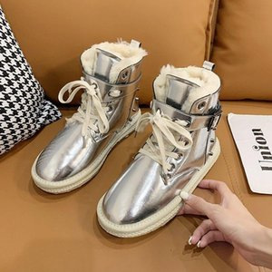 High Top Women's Shoes Winter Women Boots Warm Fur Plush Lady Casual Shoes Lace Up Fashion Sneakers Platform Snow Boots R14-88