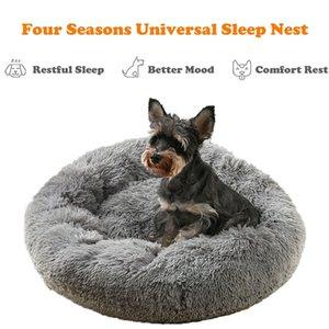- Большая круглая собака для собак для собак кошка зимний теплый спальный шезлонг коврик щенок питомник длинные плюшевые Big Pet Bed LJ201028