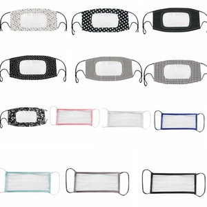 18styles Transparent Lip Plaid Dot Anti-fog Clear Fa Mask Deaf Mute Designer Masks Visible Anti Dust Floral Mouth Cover Gga3578-7