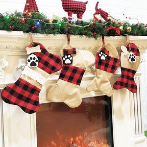 4 Borse regalo della decorazione di Natale di stile Calze Plaid Natale per i sacchetti del gatto del cane zampa Calza regalo Albero Wall Hanging Ornament