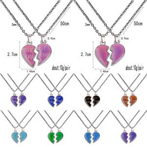 Thermochrome Paar Halskette Engelsflügel Liebe Herz Halskette Valentines Tag Geschenke Beste Frind Edelstahlkette XD24383