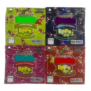 Hot Square Medicated Rope Bites Svuoti Borsa gommosa Imballaggio odore borse a prova di odore 600mg Corda Imballaggio commestibile VS Cookie Borsa Borse Runtz