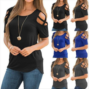 New Fashion Womens Cold Shoulder T Shirt Ladies Summer Casual Short Sleeve Tops Drop Shipping good quality