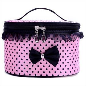 Xiniu Cosmetic Bag Dot Bowknot Women Lace Patchwork Organizer Bag Makeup Cases Maleta De Maquiagem makeup organizer 0