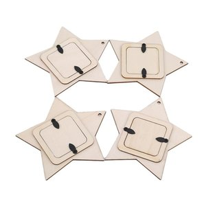 DIY Wooden Hanging Photo Frame Mini Star Wall Ornament Household Decoration Small Picture Frame Decoration